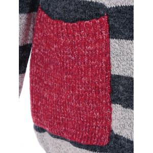 Pockets Graphic Striped Cardigan - DEEP GRAY ONE SIZE