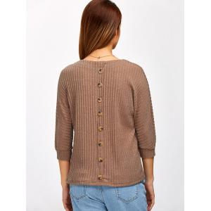 Back Button Ribbed Sweater - KHAKI 2XL