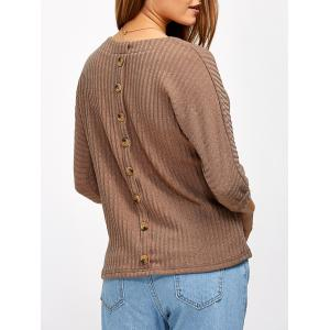 Back Button Ribbed Sweater - Khaki - L