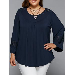 Plus Size Openwork Insert Smock Blouse