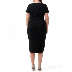 Plus Size Surplice Short Sleeve Jumper Dress - BLACK 8XL