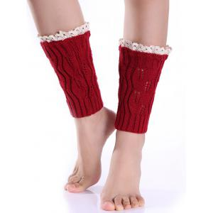 Hollowed Lace Edge Knitted Boot Cuffs - Red