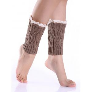 Hollowed Lace Edge Knitted Boot Cuffs - Khaki