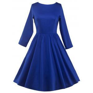 Long Sleeve Fit and Flare Dress - Blue - 2xl