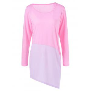 Two Tone Asymmetrical Shift Dress - Pink - Xl