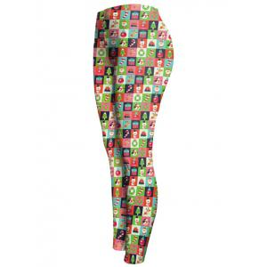 Christmas Checked Ankle Leggings - GREEN XL