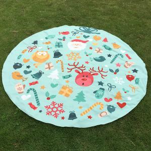 Christmas Elements Print Round Beach Throw