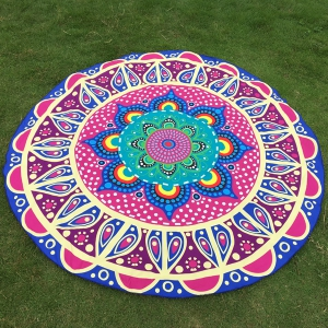 Ethnic Flower and Polka Dot Print Round Beach Throw