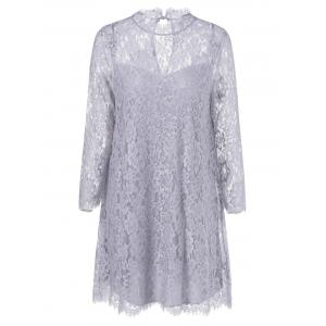 Sheer Lace Tunic Mini Dress
