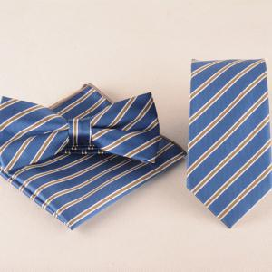 Casual Striped Tie Pocket Square Bow Tie - Light Blue - Xl