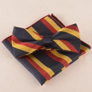 Casual Color Block Tie Pocket Square Bow Tie - BLACK