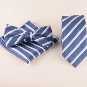Classical Stripe Pattern Tie Pocket Square Bow Tie - Medium Blue - Xl