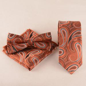 Casual Cashews Pattern Tie Pocket Square Bow Tie - Dark Red - Xl
