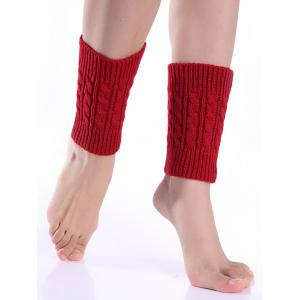 Cable Knitted Boot Cuffs - Red