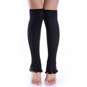 Cable Knit Leg Warmers - Black - L