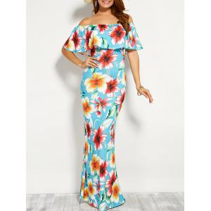 Off Shoulder Flounce Long Floral Dress for Wedding - Cloudy - M