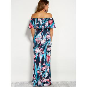 Flounce Off The Shoulder Floral Maxi Dress - PURPLISH BLUE L