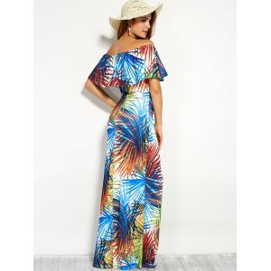 Ornate Print Flounce Off The Shoulder Holiday Dress - COLORMIX L
