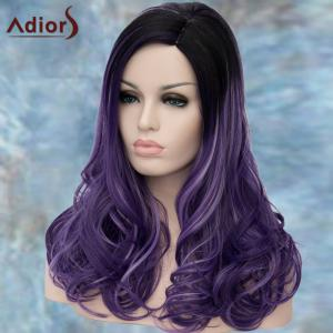 Long Side Parting Curly Black Ombre Purple Lolita Synthetic Wig -