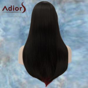 Adiors Long Double Color Full Bang Straight Tail Adduction Lolita Synthetic Wig - RED/BLACK