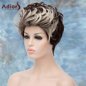 Adiors Double Color Short Fluffy Curly Lolita Cosplay Synthetic Wig - WHITE/BLACK