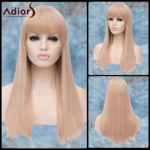 Adiors Long Full Bang Straight Lolita Synthetic Wig - White Grey