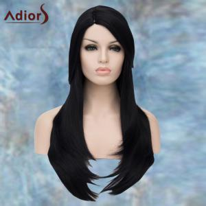 Adiors Long Side Parting Straight Layered Tail Adduction Lolita Synthetic Wig - BLACK