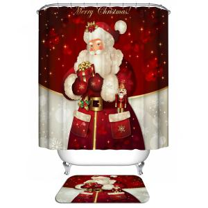 Christmas Santa Claus Waterproof Shower Curtain Barhroom Decor - Red