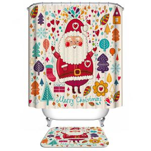Polyester Waterproof Colorful Merry Christmas Bathroom Curtain