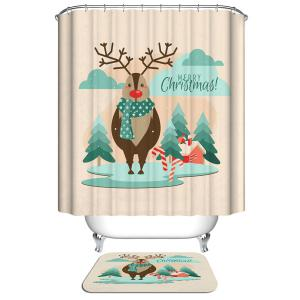 Polyester Waterproof Christmas Deer Shower Curtain Bath Decor