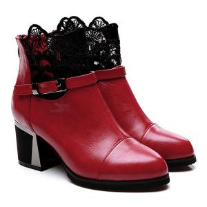 Buckle Strap Zipper Lace Ankle Boots - RED 39