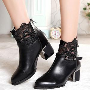 Buckle Strap Zipper Lace Ankle Boots -