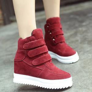 Stitching Hidden Wedge Ankle Boots - Wine Red - 38