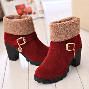 Belt Buckle Chunky Heel Ankle Boots - WINE RED 39