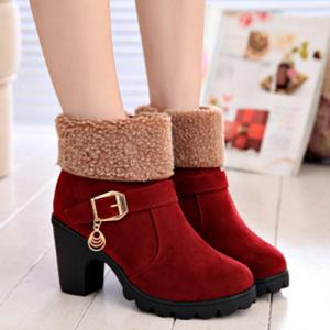 Belt Buckle Chunky Heel Ankle Boots
