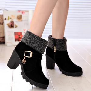 Belt Buckle Chunky Heel Ankle Boots - Black - 39