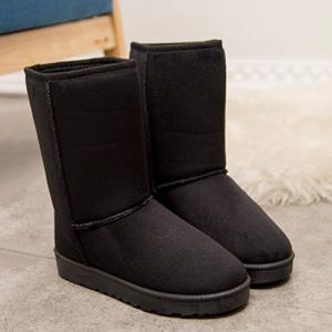 Flat Heel Suede Dark Colour Snow Boots - Black - 38