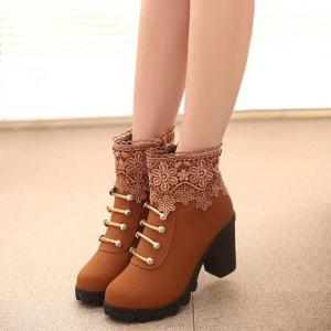 Metal Embroidery Zipper Ankle Boots - LIGHT BROWN 39