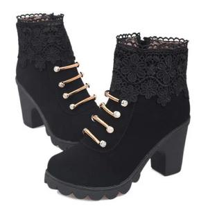 Metal Embroidery Zipper Ankle Boots - BLACK 40