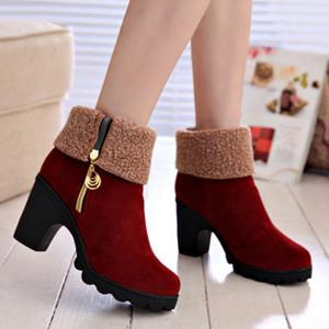 Platform Zipper Flock Short Boots - Wine Red - 38