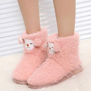 Color Block Flat Heel Snow Boots - Pink - 40