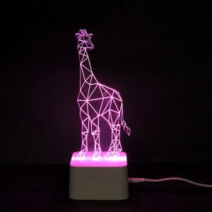 Colorful Remote Control 3D Visual Giraffe Atmosphere LED Night Light - COLORFUL