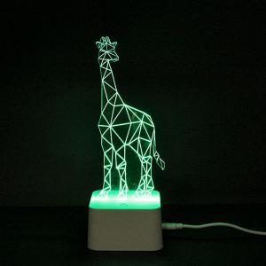 Colorful Remote Control 3D Visual Giraffe Atmosphere LED Night Light -