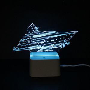 Colorful Remote Control 3D Visual Yacht Atmosphere LED Night Light - COLORFUL