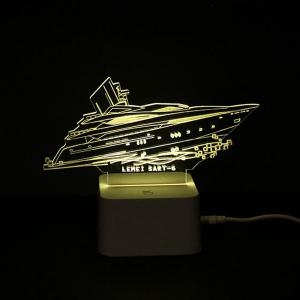 Colorful Remote Control 3D Visual Yacht Atmosphere LED Night Light -