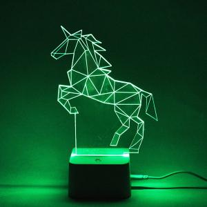 Colorful Remote Control 3D Visual Horse Atmosphere LED Night Light - COLORFUL