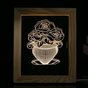 3D Vision USB Flower Vase Wooden Photo Picture Frame Night Light