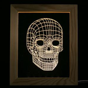 3D Vision USB Skull Wooden Photo Picture Frame Night Light