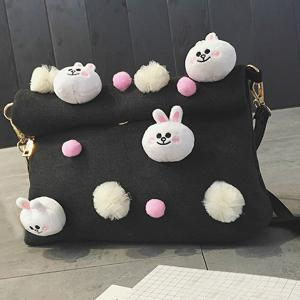 Magnetic Closure Animal Dolls Pompon Crossbody Bag -