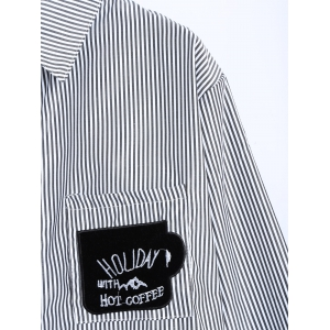 Striped Letter Patched Number Embroidered Shirt -